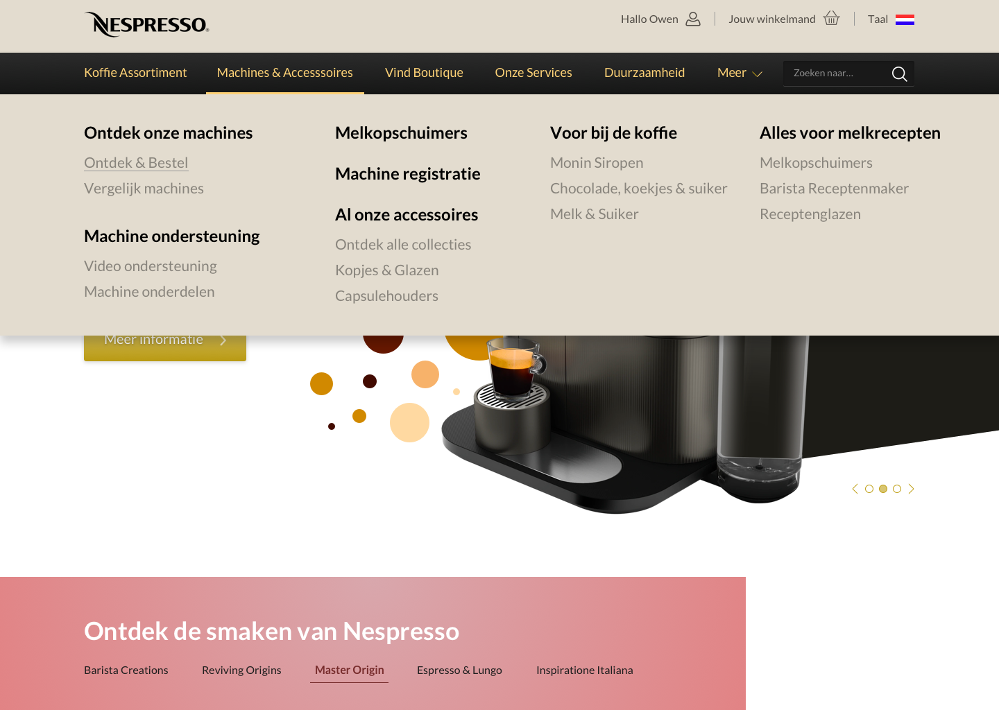 Nespresso Home Menu